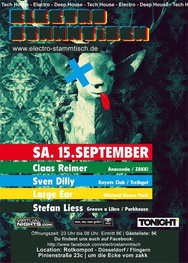 Flyer Electro Stammtisch, Rotkompott, Düsseldorf, 15.09.2012